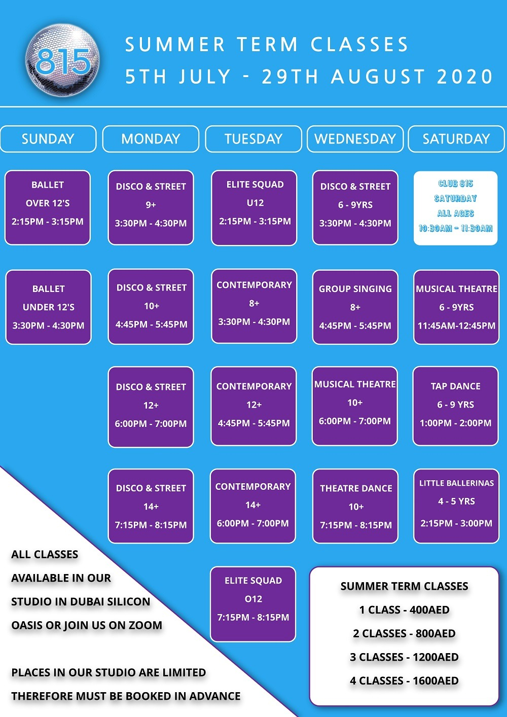 Summer Dance Classes in Dubai Silicon Oasis with fees