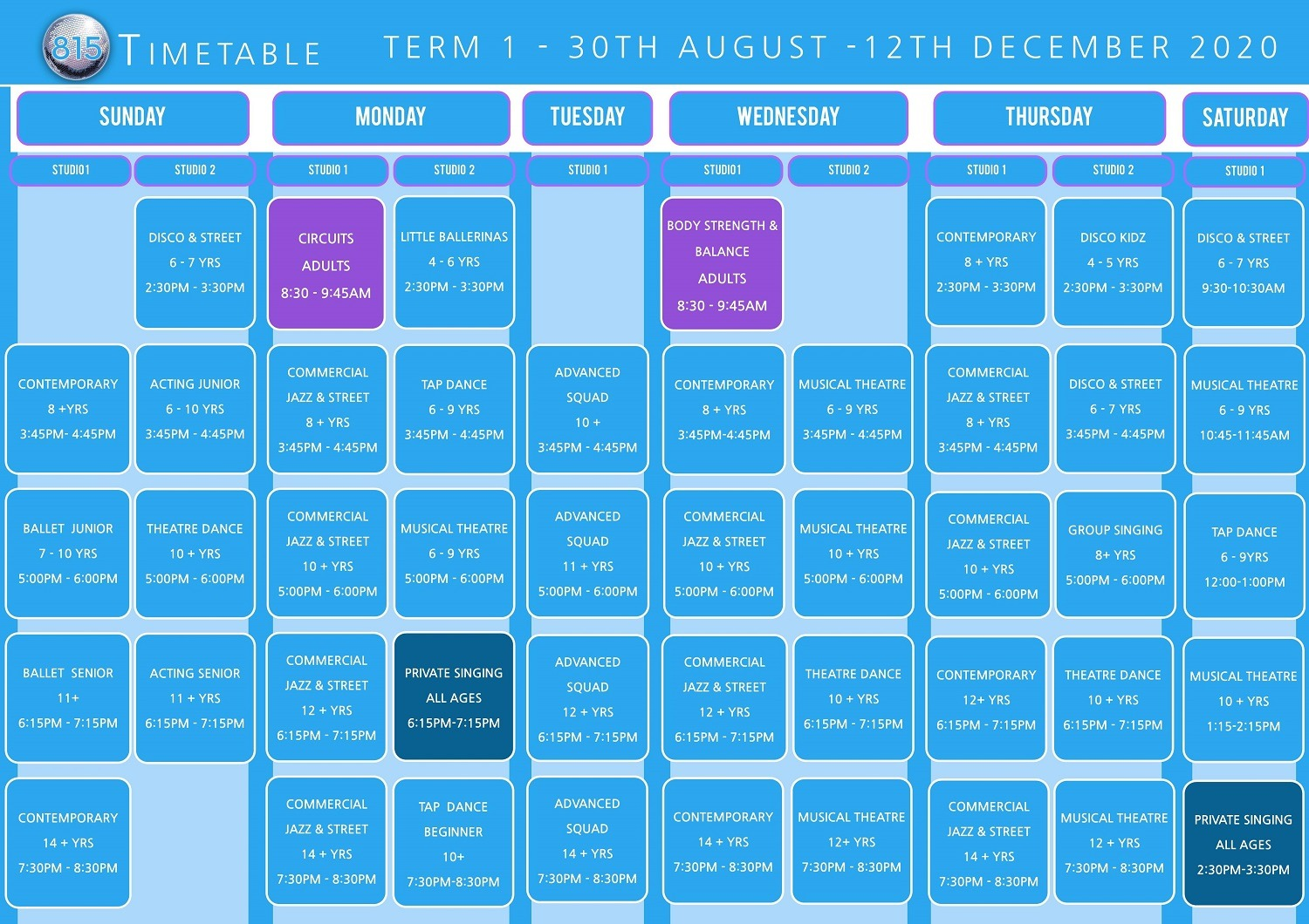 815 Dance & Performing Arts Online Timetable Term 1 2020-2021